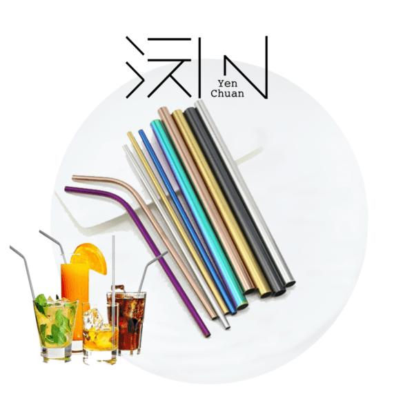 coloured steel straws