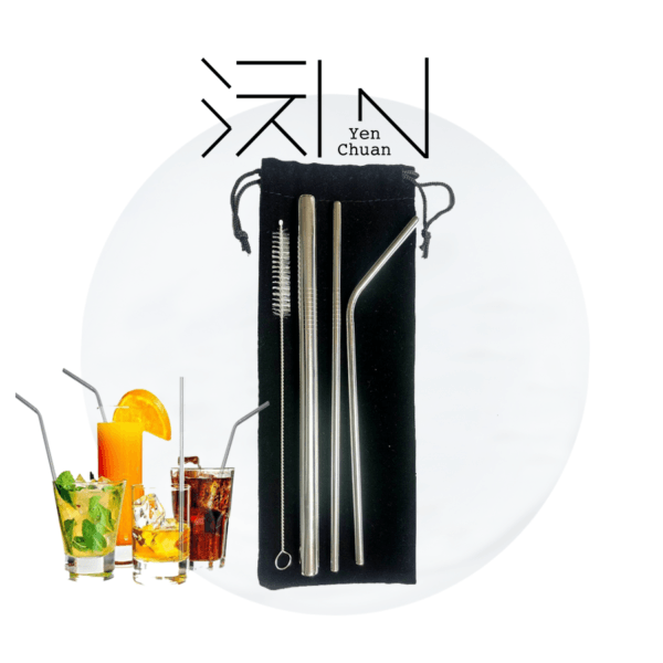 steel straw (flat edge, 3+1 pack)