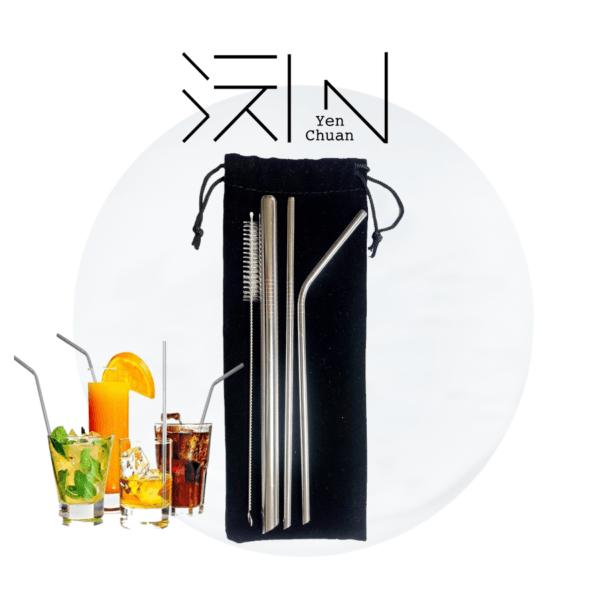 Steel straws (sharp edge, 3+1 pack)