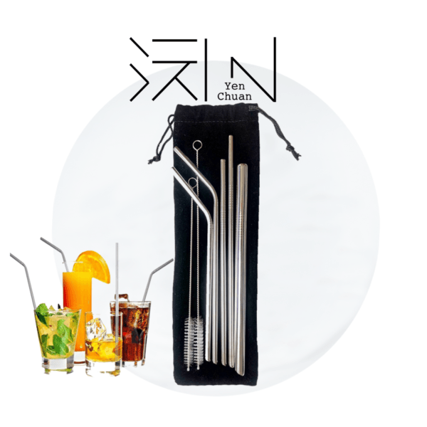 Steel straws (sharp edge, 5+2 pack)