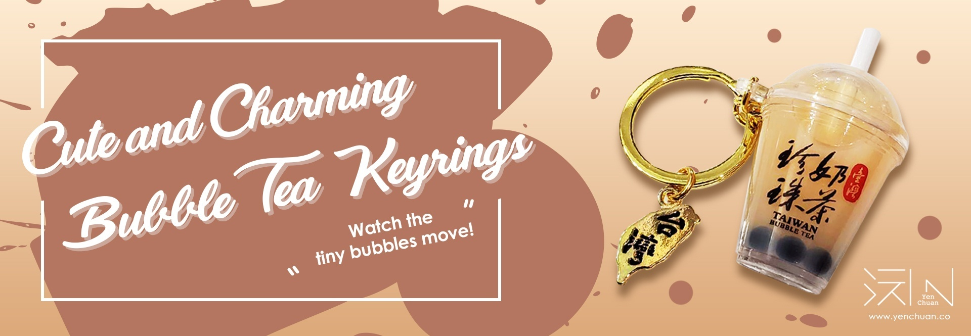 bubble tea keyring banner